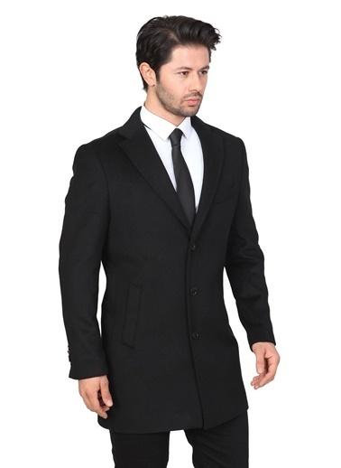 White Stone Balıksırtı Regular Fit Palto Siyah Siyah